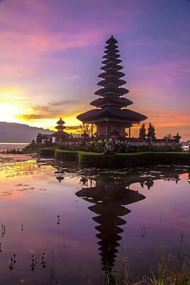 Sunrise At Bali Water Temple, Ulun Danu Print by Emily Wilson