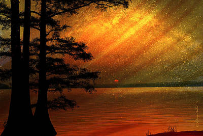 Digital Art - Sunrise At Reelfoot Lake by J Larry Walker
