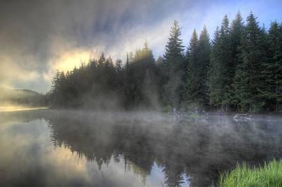 Sun Photograph - Sunrise At Trillium Lake by David Gn