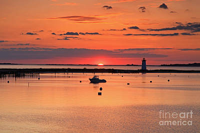Photograph - Sunrise Edgartown Light by Butch Lombardi