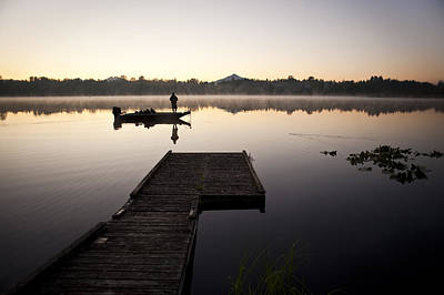 Photograph - Sunrise In Fog Lake Cassidy With Fisherman In Small Fishing Boat by Jim Corwin