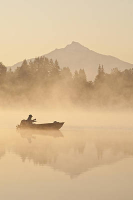 Photograph - Sunrise In Fog Lake Cassidy With Mount Pilchuck  by Jim Corwin