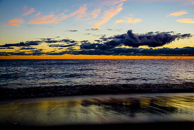 Print featuring the photograph Sunrise Lake Michigan September 14th 2013 001 by Michael  Bennett
