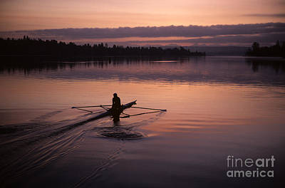 Photograph - Sunrise On The Montlake Cut Crew Rowing On Calm Waters by Jim Corwin