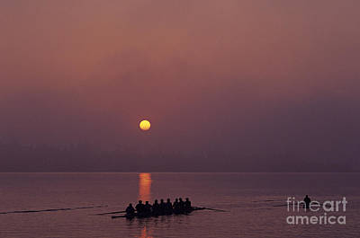 Photograph - Sunrise On The Montlake Cut With Eight Man Crew Rowing On Calm W by Jim Corwin