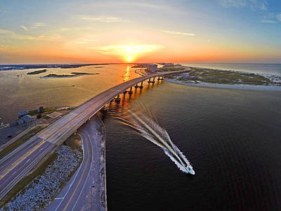 Photograph - Sunrise Over Perdido Bridge by Michael Thomas