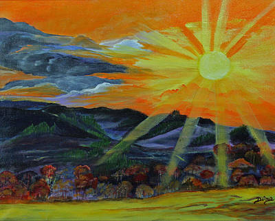 Sunrise Over The Mountains Art Print by Dina Jacobs