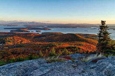 Autumn In New England Photograph - Sunrise Over Winnipesaukee. by Jeff Sinon