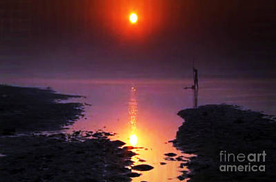 Painting - Sunset At Ganga River In The Planes Of Provinces by Navin Joshi