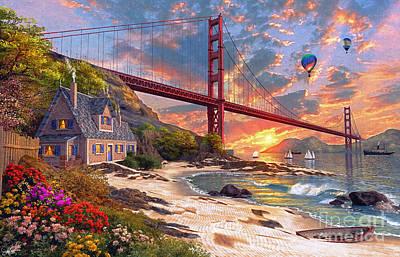 Balloon Flower Digital Art - Sunset At Golden Gate by Dominic Davison