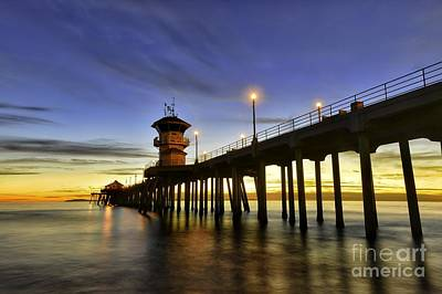 Sunset At Huntington Beach Pier  Art Print by Peter Dang