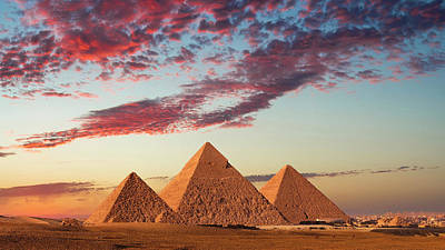 Sunset At The Pyramids, Giza, Cairo Art Print by Nick Brundle Photography