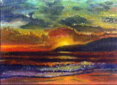 Drawing - Sunset Beach by Linda Pope