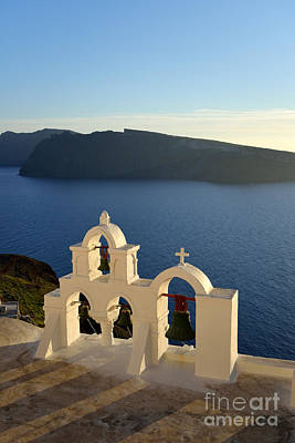 Photograph - Sunset Behind A Belfry In Santorini Island by George Atsametakis