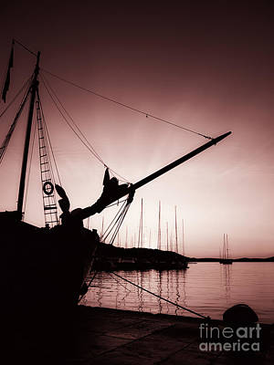 Blue Pirate Ships Landscape Photograph - Sunset Bow by Sinisa Botas