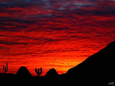 Sunset In The Desert Art Print by Bruce Nutting