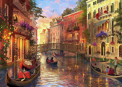 Canal Drawing - Sunset In Venice by Dominic Davison