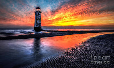 Watercolour Photograph - Sunset Lighthouse  by Adrian Evans