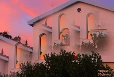 Sunset On Houses Art Print