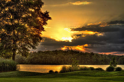 Sunset Golf Hole Lake Oconee Art Print by Reid Callaway