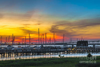 Photograph - Sunset Over Charleston Harbor by Dale Powell