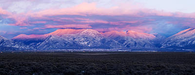 Mountain Photograph - Sunset Over Mountain Range, Sangre De by Panoramic Images