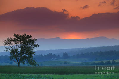 Curated Beach Towels - Sunset over Mt. Mansfield in Stowe Vermont by Don Landwehrle