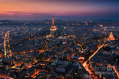 Paris Skyline Royalty-Free and Rights-Managed Images - Sunset over Paris taken from the Tour Montparnasse Tower by Henk Meijer Photography