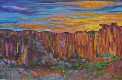 Live Oak Trees Painting - Sunset Over The Canyon by Kathy Peltomaa Lewis
