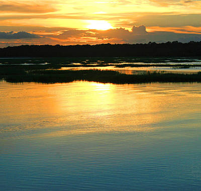 Marsh Photograph - Sunset Over The Marsh by Tony Delsignore