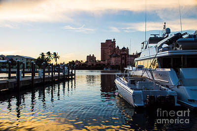 Bahamas Pier Photograph - Sunset Over The Water At A Tropical Marina by Michel Sun