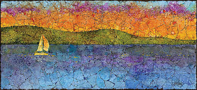 Mosaic Mixed Media - Sunset Sail by Elaine Allen
