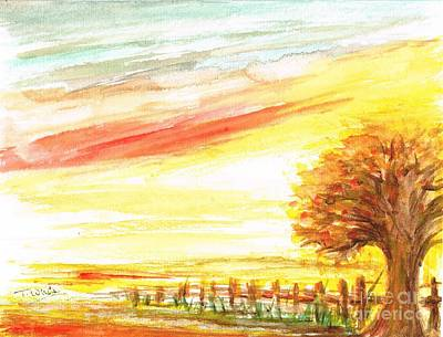 Art Print featuring the painting Sunset by Teresa White