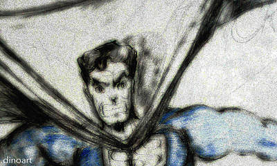 Graphic Digital Art Drawing - Superman by Jazzboy