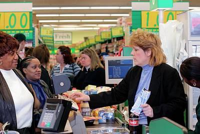 Shopper Photograph - Supermarket Cashier by Jim West