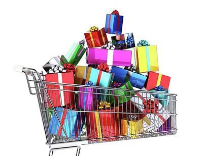 Supermarket Photograph - Supermarket Trolley Full Of Presents by Leonello Calvetti