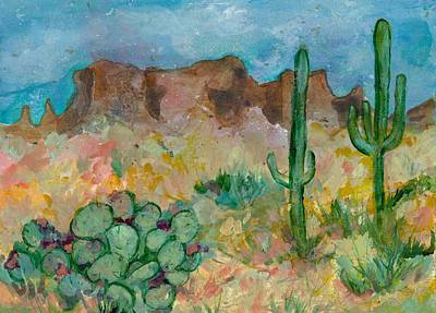 Art Print featuring the painting Superstition Mountains Arizona by Elaine Elliott