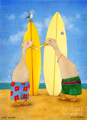 Ducks Painting - Surf Quacks... by Will Bullas