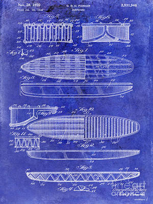 Drawing Mixed Media - Surfboard Patent Drawing 1950 Blue by Jon Neidert