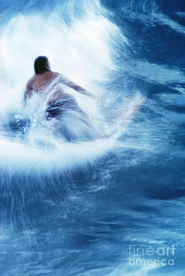 Surfer Carving On Splashing Wave, Interesting Perspective And Blur Print by Carl Shaneff