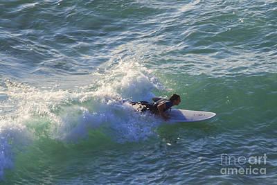Photograph - Surfer Chapel Porth Cornwall by Brian Roscorla