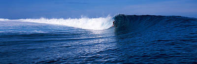 Surfer In The Sea, Tahiti, French Art Print by Panoramic Images
