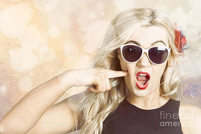Surprised Blonde Woman With Retro Hair And Makeup Art Print