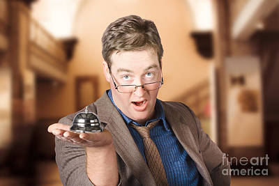 Shock Photograph - Surprised Customer Holding Retail Service Bell by Jorgo Photography - Wall Art Gallery