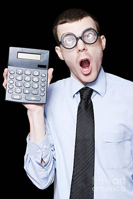 Accountancy Photograph - Surprised Mathematical Man With Financial Solution by Jorgo Photography - Wall Art Gallery