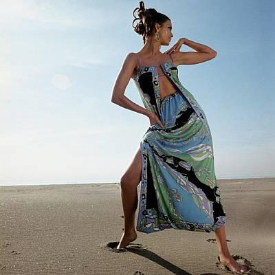 Susan Murray Posing On A Beach Art Print by Henry Clarke