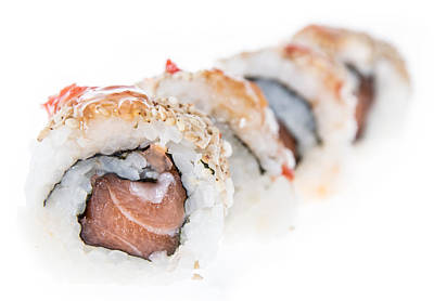 Sushi Rolls Isolated On White Background Print by Handmade Pictures
