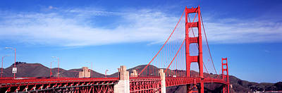 Suspension Bridge Across A Bay, Golden Art Print by Panoramic Images