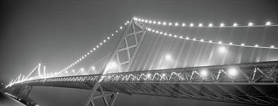 Suspension Bridge Lit Up At Night, Bay Art Print by Panoramic Images