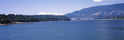 Lions Gate Bridge Photograph - Suspension Bridge With Mountain by Panoramic Images